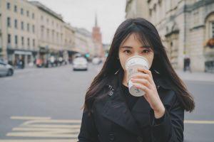 black coat coats coffee starbucks asian women outdoors women