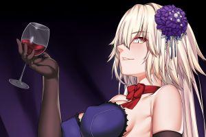 blonde avenger (fate/grand order) anime girls wine jeanne (alter) (fate/grand order)