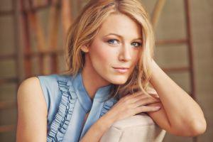 blonde blake lively blue eyes women looking at viewer actress