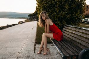 blonde brunette bench legs women outdoors sitting dress blue eyes high heels women red dress bare shoulders