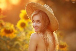blonde dmitry arhar portrait straw hat model sunflowers women women outdoors women with hats smiling depth of field looking at viewer