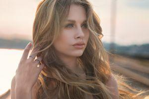 blonde face rings dmitry shulgin depth of field portrait model blue eyes women karina women