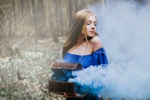 blonde forest dress painted nails model portrait women smoke bare shoulders boxes necklace