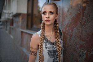 blonde karina tikhonovskaya dmitry sn necklace long hair portrait dmitry shulgin pigtails women blue eyes karina