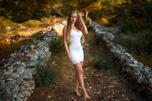 blonde portrait trees white dress women blue eyes women outdoors long hair
