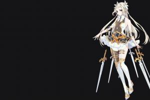 blonde thighs video games women knee-high boots elven fantasy girl digital art epic seven mobile game knee-highs sword anime girls thigh-highs long hair