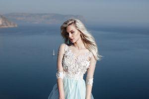 blonde women model women outdoors