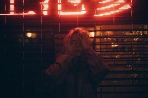blonde women neon