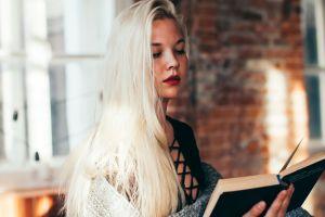 blonde women women indoors red lipstick books reading model