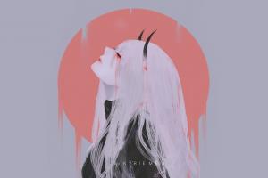 blood anime digital art artwork simple background anime girls horns white hair kyrie meii