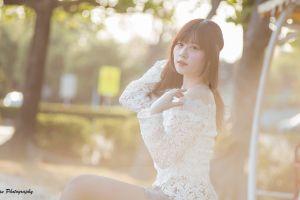 blouse women blurred long hair looking at viewer asian women outdoors