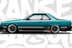 blue cars axesent creations nissan jdm nissan skyline r31 japanese cars render side view