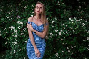 blue dress dress portrait women watermarked plants