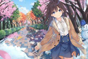 blue eyes anime girls outdoors brunette long hair anime