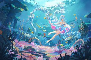 blue eyes anime illustration women drawing original characters digital art whale anime girls fish underwater smiling fantasy girl ruins artwork