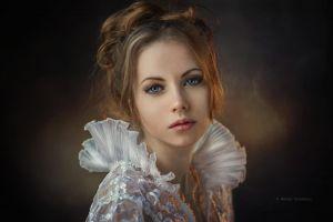 blue eyes blonde model women dennis drozhzhin white dress