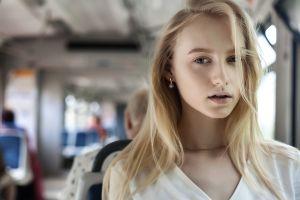 blue eyes face women depth of field portrait blonde