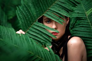 blue eyes looking at viewer women outdoors depth of field women outdoors portrait dark hair face plants model