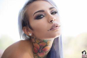 blue hair women suicide girls pierced nose fishball suicide