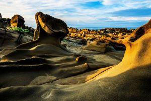 blue horizon sunlight landscape sky rock nature