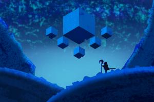 blue vector cube mountains