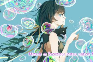 blue white skin bubble dark hair anime girls artwork monogatari series black cats hanekawa tsubasa anime
