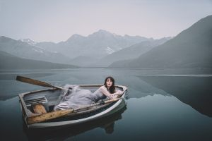 boat lake mountains women model
