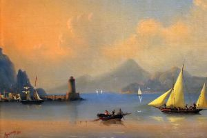boat painting paint brushes classical art lighthouse artwork