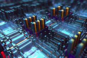 boxes 3d abstract geometry square motherboards render