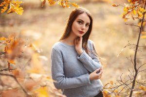 branch brunette sweater fall sergey sorokin women portrait model grey sweater looking at viewer long hair women outdoors red lipstick depth of field bokeh