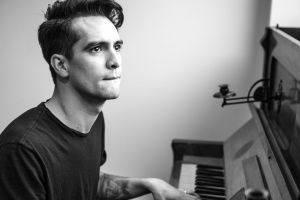 brendon urie emo musical instrument monochrome men panic at the disco!