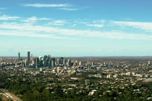 brisbane city australia skyline trees horizon architecture