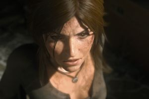 brown eyes lara croft necklace pink lipstick rise of the tomb raider brunette blood angry