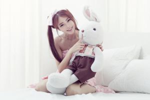 brunette asian red nails kneeling ribbon women indoors women in bed pyjamas necklace pigtails teddy bears smiling bare shoulders looking at viewer