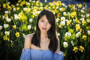 brunette asian strapless dress model long hair flowers bare shoulders looking at viewer depth of field portrait women outdoors women