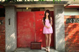 brunette asian taiwanese women dress bare shoulders long hair looking at viewer pink dress women outdoors model smiling legs