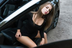 brunette black dress women women with cars sitting honda honda accord