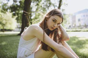 brunette depth of field sitting looking at viewer women dress portrait model julia trotti women outdoors
