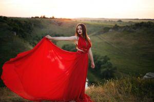 brunette depth of field women sunset red dress model women outdoors looking away