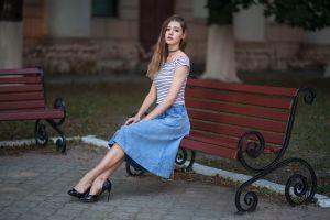 brunette diana striped tops women outdoors women bench dmitry shulgin sitting eyeliner