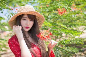brunette dress hat model necklace depth of field portrait asian flowers trees plants women looking at viewer women outdoors women with hats