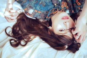 brunette face women asian model