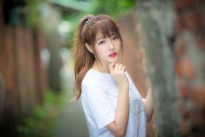 brunette long hair asian portrait urban women face women outdoors