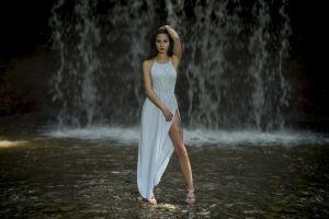 brunette looking at viewer model dress sandals women outdoors depth of field women tattoo waterfall dean kaymak