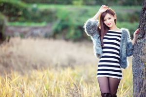brunette looking at viewer women miniskirt striped clothing asian women outdoors arms up model photography smiling
