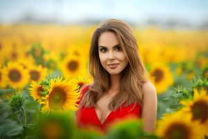 brunette model women outdoors smiling flowers cleavage women sunflowers red clothing