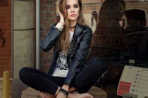 brunette open jacket women leather jackets model black jackets jacket