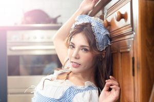 brunette smiling joshua chang 500px kitchen model depth of field looking at viewer asian women