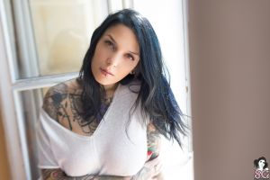 brunette tattoo bedroom valkyria suicide window long hair women suicide girls curtains