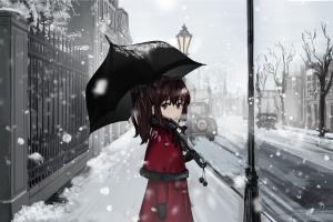 brunette umbrella snow car long hair